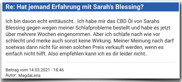 Sarah's Blessing Erfahrungsbericht Bewertung Kritik Sarah's Blessing