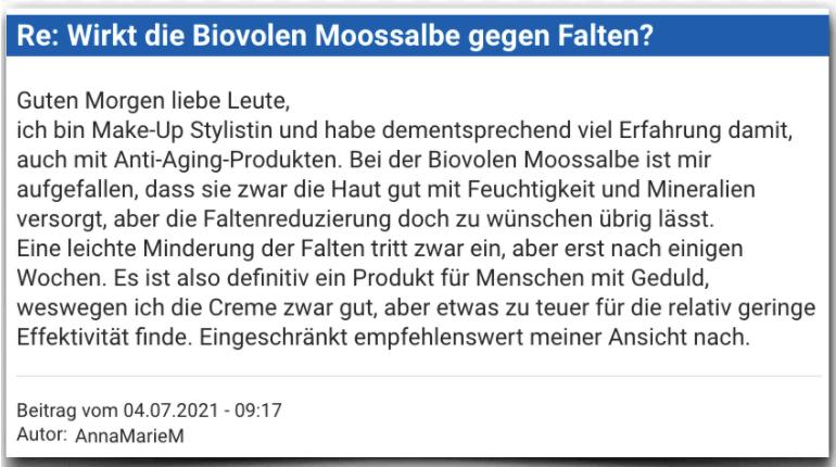 Biovolen Moossalbe Erfahrungsbericht Bewertung Erfahrungen Biovolen Moossalbe