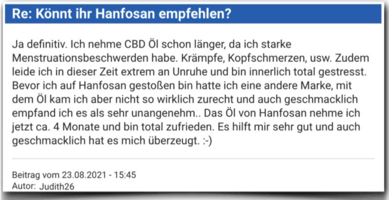 Hanfosan Erfahrungsbericht Bewertung Erfahrungen